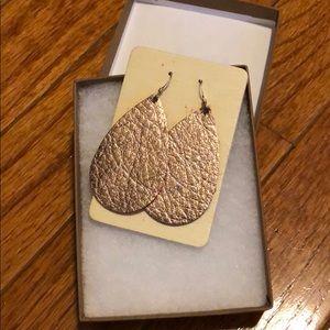 Nickel & Suede rose gold leather earrings
